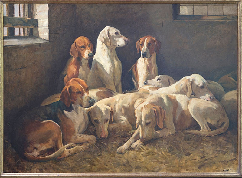 Cattistock Hounds by Charles Church (oil on canvas, 36 x 52 inches)