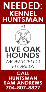 Live Oak Kennel Huntsman Ad