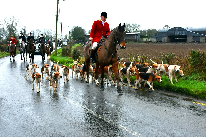 East Galway Foxhounds huntsman Liam McAlinden moving off at the meet from McDonaghs Pub in Tynagh