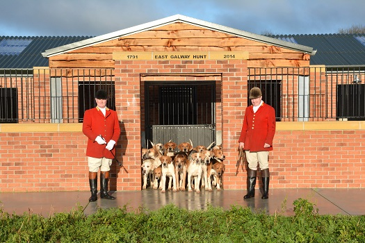 East Galway Foxhounds joint master Joe Cavanagh and huntsman Liam McAlinden and hounds at the New Kennels